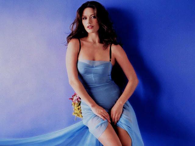 Catherine Zeta Jones  sexy in blue dress fashion