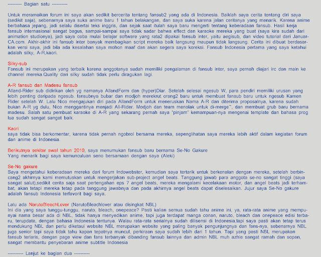 Penuturan dari mas Alex dari fansub Aleki