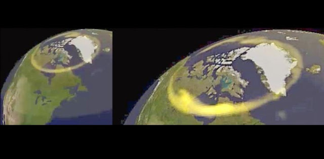On the left is and aurora oval before the auroral breakup occurs On the right is a supercomputer simulation reveals how auroral breakups develop Hot charged particles, or plasmas, gather in near-Earth space -- just above the upper atmosphere of the polar region -- when magnetic field lines reconnect in space. This makes the plasma rotate, creating a sudden electrical current above the polar regions. Furthermore, an electric current overflows near the bright aurora in the upper atmosphere, making the plasma rotate and discharge the extra electricity. This gives rise to the 'surge', the very bright sparks of light that characterize substorms. Credit: Kyoto University