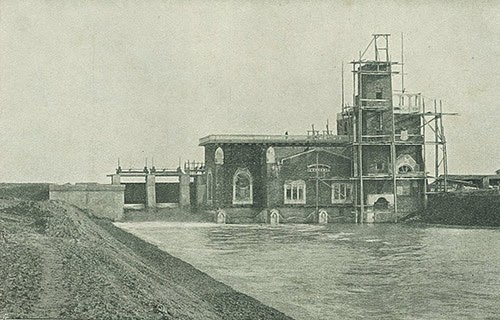 The hydroelectric power plant's construction