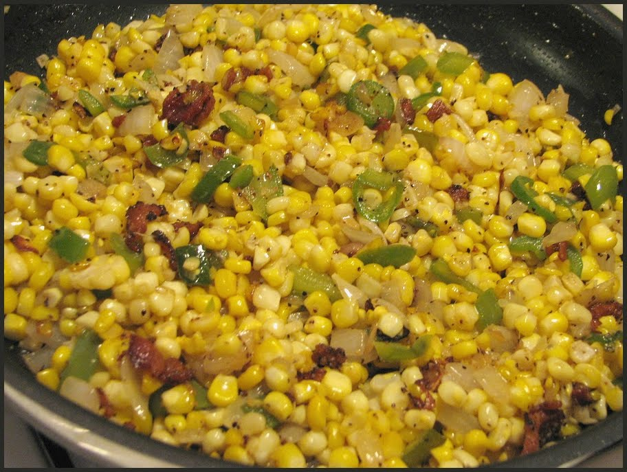 Fresh corn maque choux: corn, onions, marconi peppers, jalapenos ...