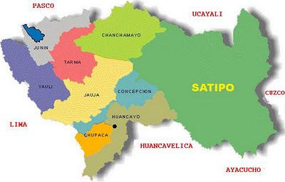 Ilustración Mapa del Departamento de Junín (División Política de Junín)