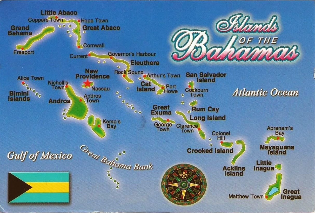 Postcards on My Wall Map of the Bahamas