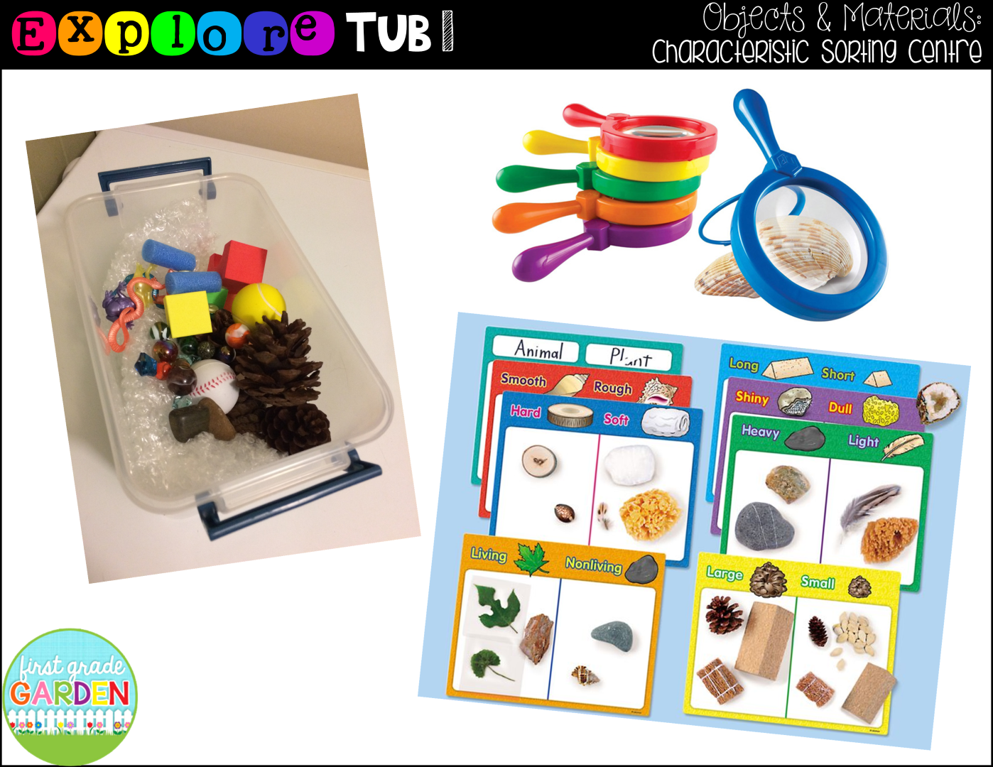 First grade garden explore tubs for objects materials for Types of bathtub materials