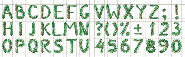 alfabeto navideño de pino