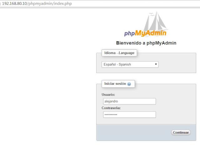Acceso PHPMyAdmin