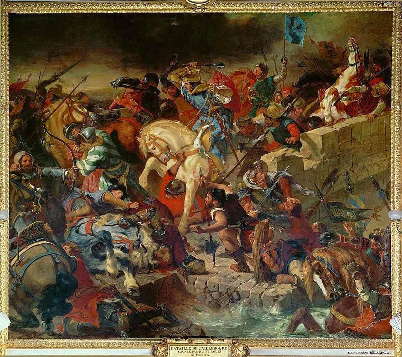 São Luís na batalha de Taillebourg.  Ferdinand-Victor-Eugène Delacroix 1798-1863, Galerie des Batailles, Versailles