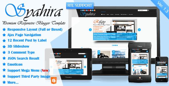 Syahira v1.10 Responsive Premium Blogger Template