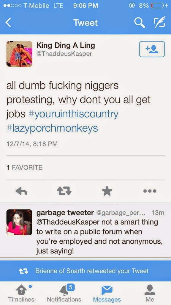 Tweet by @ThaddeusKasper with reply by @garbage_person