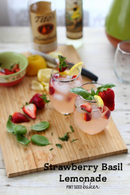 Fresh, garden grown basil and strawberries add a wonderful flavor to basic lemonade. Add some vodka for an adult beverage.