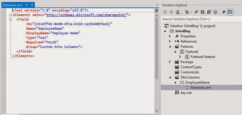 SharePoint Site Column in Visual Studio 2012