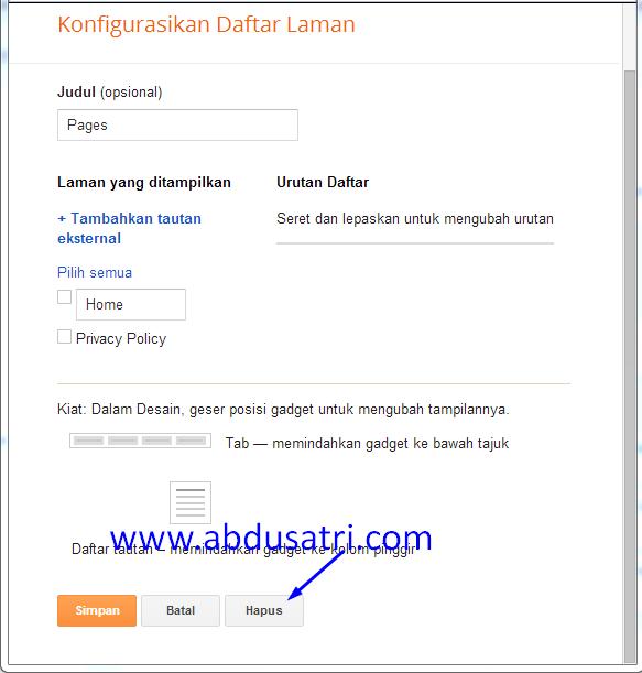 cara memunculkan tombol hapus pada widget blog