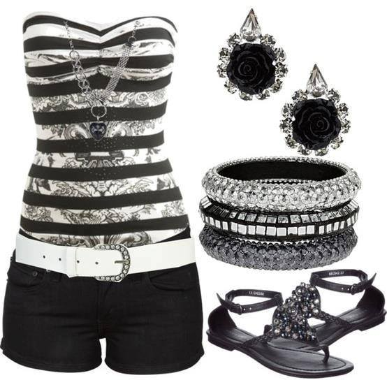 Black and white blouse, black shorts, ear rings and sandals for ladies