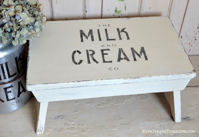 stenciled and transformed milking stool