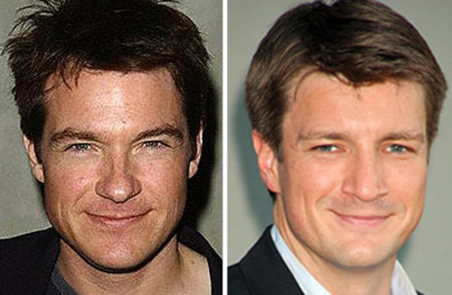 Jason Bateman and Nathan Fillion, Celebrity Doppleganger, look a like, similar looking,  Handsome man, hollywood actor, hot male, good looking guy