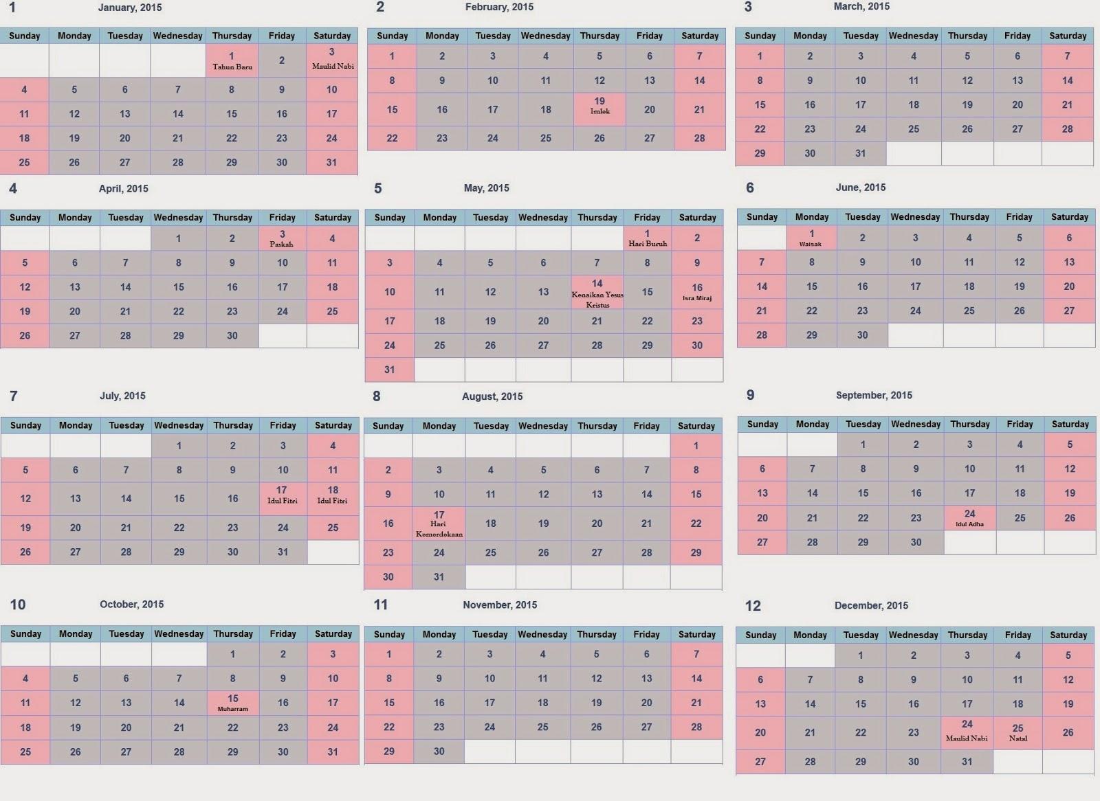 Dibawah ini kalender 2015 beserta libur indonesia