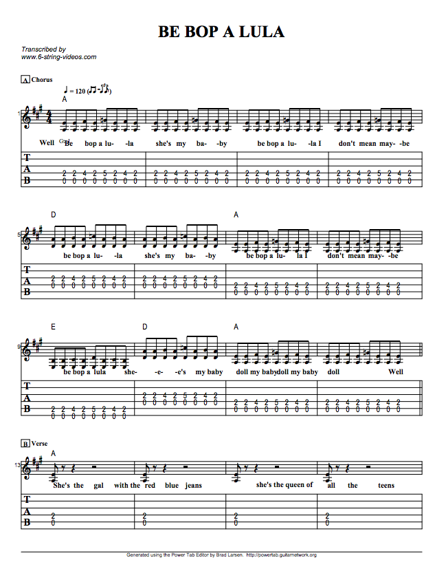Guitar Tabs: Tabs And Song Sheet For: Be Bop A Lu La