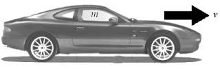 Mobil bermassa m, bergerak dengan kecepatan v. Momentumnya p = m x v.