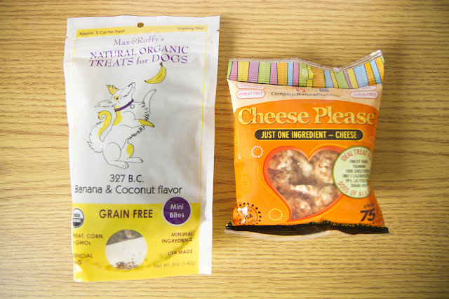 Photo of Cruelty Free For You & Me subscription box dog treats.