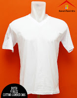 Jual Kaos Polos V Neck putih