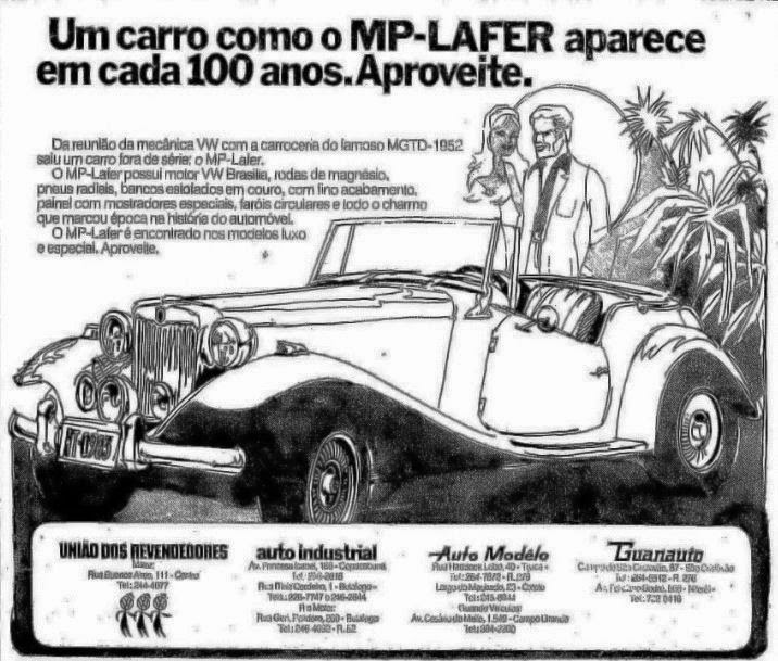 """Anúncio do MP Lafer publicado em 04 de maio de 1975 no jornal """"O Globo""""."""