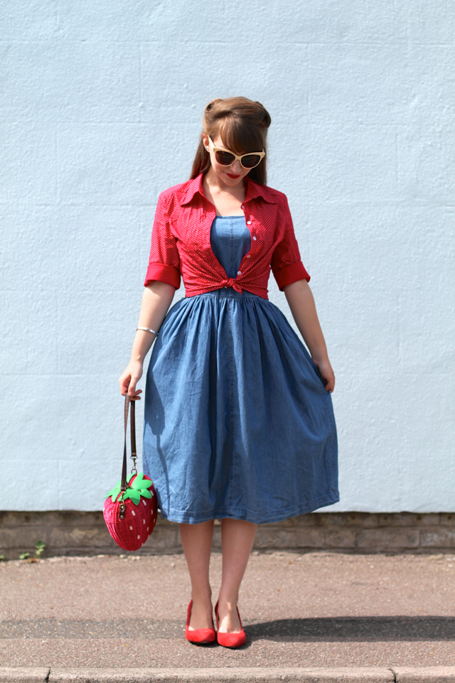 Oasis Jasmine 50s denim dress, Collectif shirt, Collectif strawberry bag