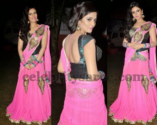 Srimukhi in Pink Half Saree