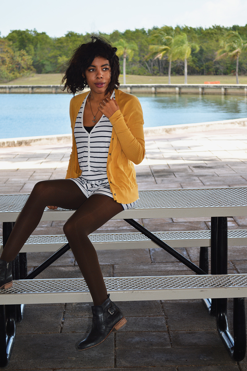 Fashion Blogger Anais Alexandre of Down to Stars in a BDG cardigan with a Forever 21 romper and Dolce Vita Rodge Boots