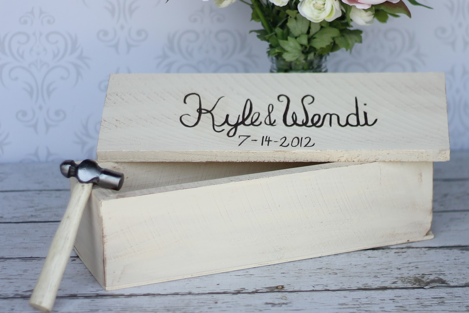 Box is large enough to hold one standard size wine bottle only! Comes with a small wood hammer. & Morgann Hill Designs: Personalized Wine Box Shabby Chic Time ... Aboutintivar.Com