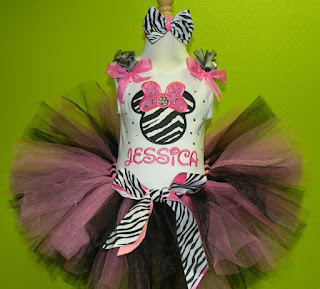 Hot Pink Rhinestone Zebra Minnie Mouse Birthday Girls Tutu Set