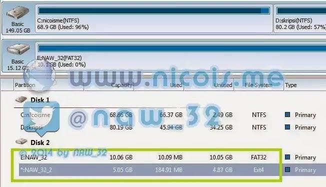 2 partisi dengan 2 file system berbeda