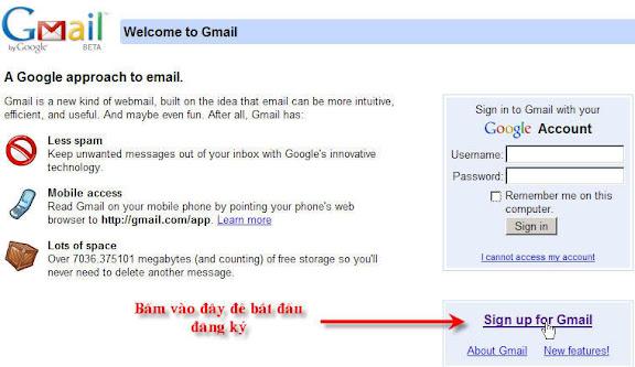 Nhấn Sign up for gmail (đăng ký vào GMAIL)