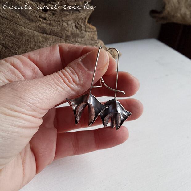 Orecchini lavorati a foldforming in rame e argento