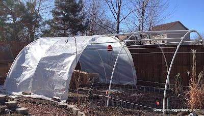 Adding plastic over the greenhouse
