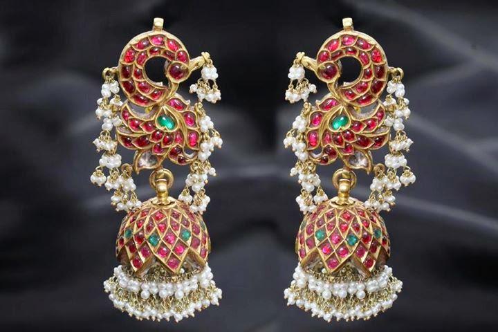peacock design jhumkas
