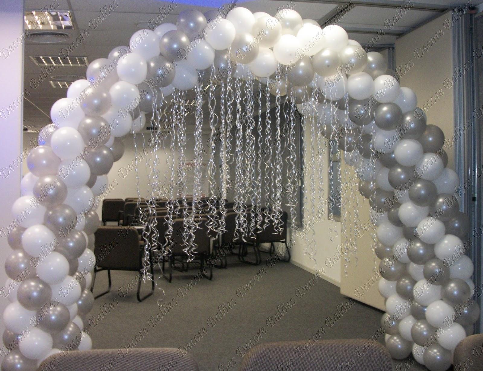 Arco Gas >> Decore Balões: Arco Prata para recepção frontal