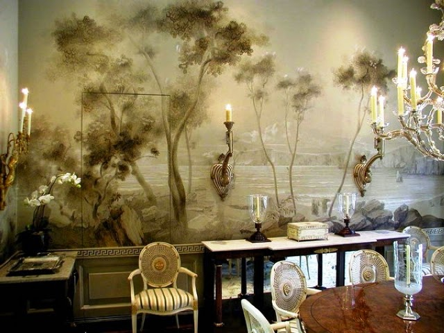 Wall painting mural ideas wall painting ideas and colors for Dining room mural wallpaper