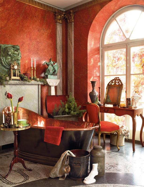 Bagno Rosso Pompeiano , Pompeian Red Bathroom