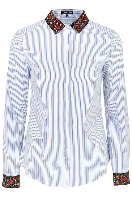stripe shirt with embellished collar, embroidered collar shirt, sister jane shirt contrast collar,
