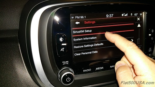 Fiat 500X Uconnect System Information Button