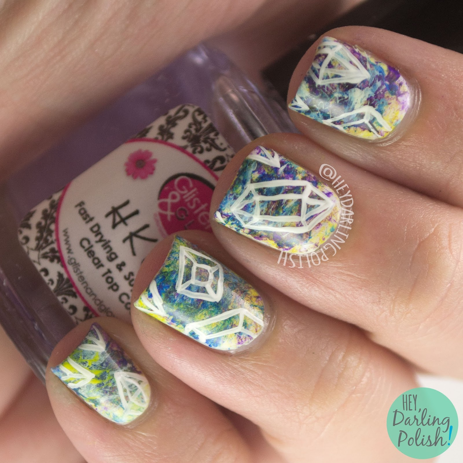 nails, nail art, nail polish, geometric, hey darling polish, the nail challenge collaborative, freehand