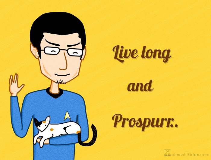 Eternal Thinker as Star Trek TV series Spock in Enterprise Uniform holding Calico Cat Chloe. Live long and Prospurr (Prosper). Spoof. Funny image