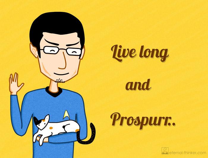 Eternal Thinker as Star Trek TV series Spock in Enterprise Uniform holding Calico Cat Chloe. Live long and Prospurr (Prosper). Spoof. Funny image