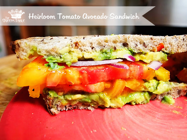 An Heirloom 'Pineapple Tomato' Sandwich With Avocado And Purple Onion!