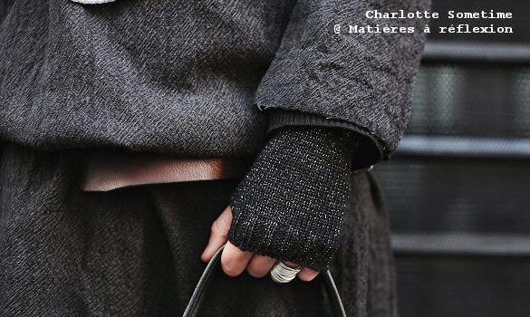 Mitaines laine noires et lurex Charlotte Sometime