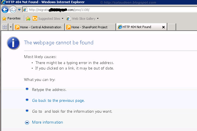 sharepoint 2010 migration 404 error