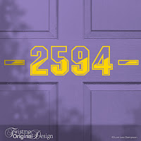 Varsity Letter Design Custom House Number Vinyl Door Decal