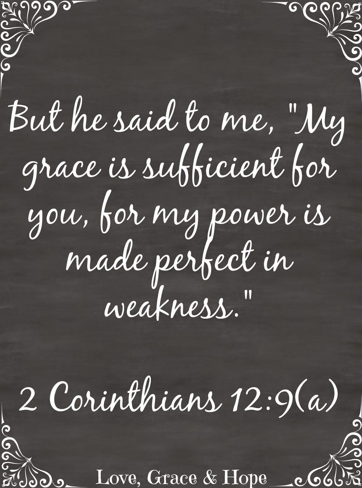 2 corinthians 12:9 love grace and hope