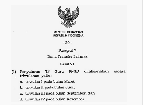 Jadwal  Pencairan TPG 2015 PMK Nomor 241/PMK.07/2014 img