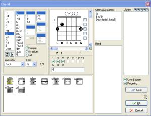 Gambar Chord Gitar dari Software Guitar Pro
